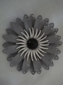 1960's Vintage Flower Brooch in Black, White & Grey (SOLD)